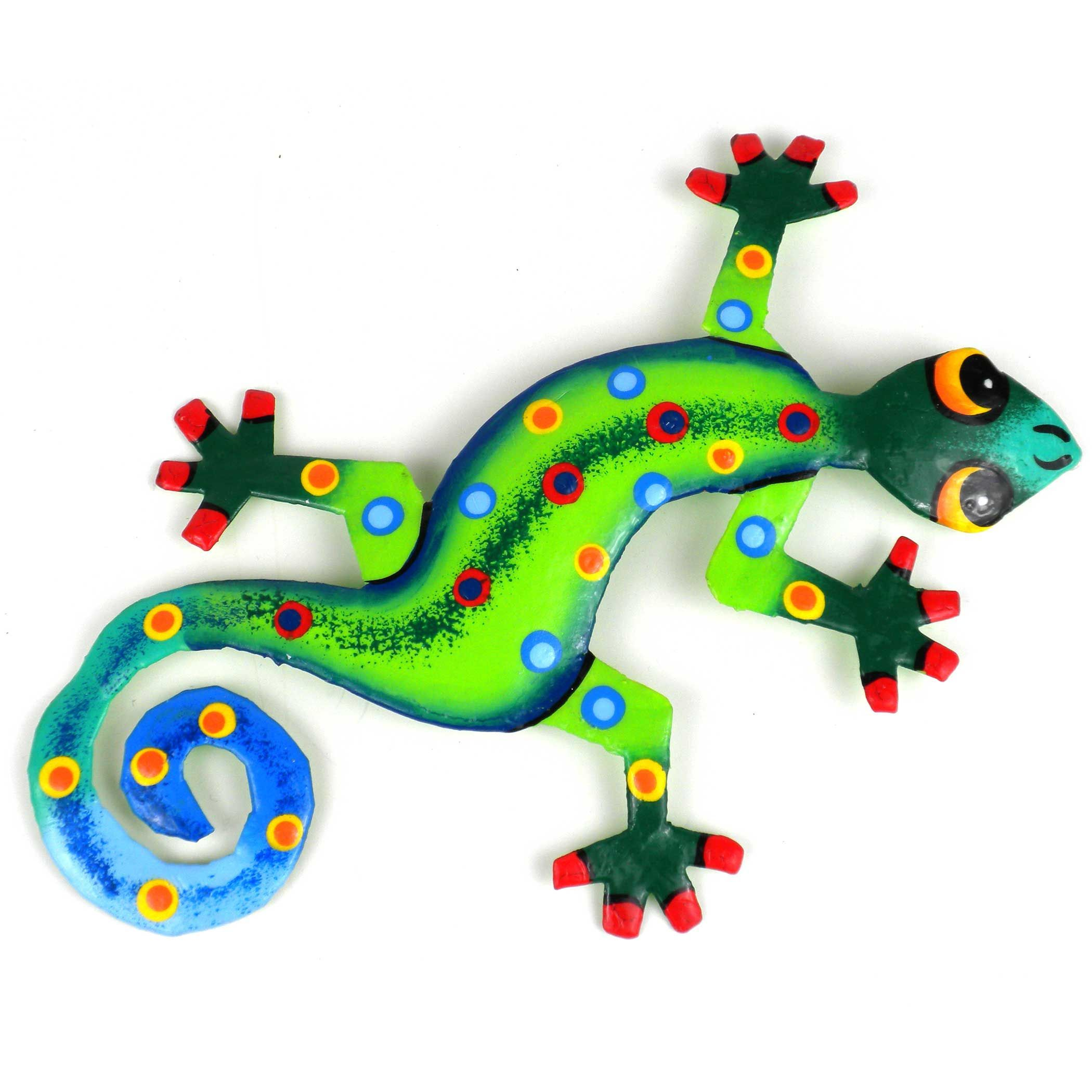 This hand painted decorative metal wall art gecko brings for Gecko wall art
