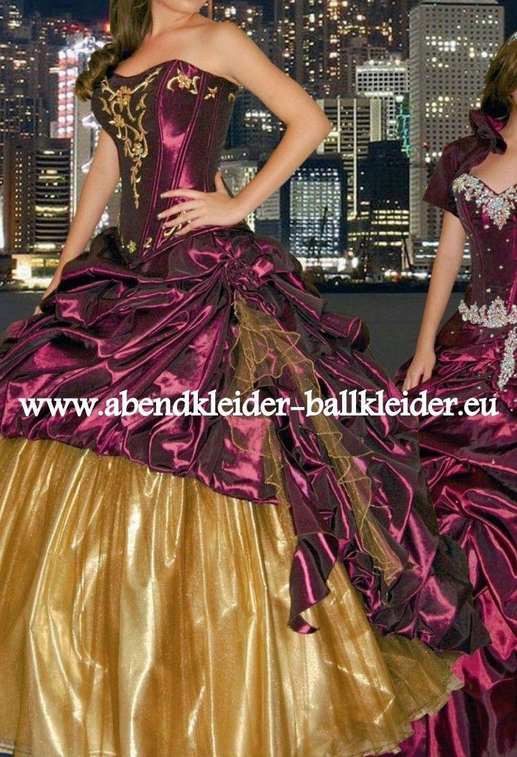 Pompöses Abendkleid 12 Ballkleid in Lila Gold  Ballkleid