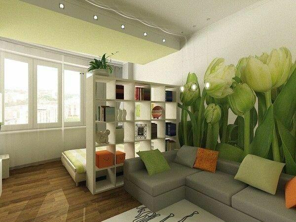 wohnideen einraumwohnung einrichten in grün regalsystem sofa bett - wohnzimmer einrichten grun