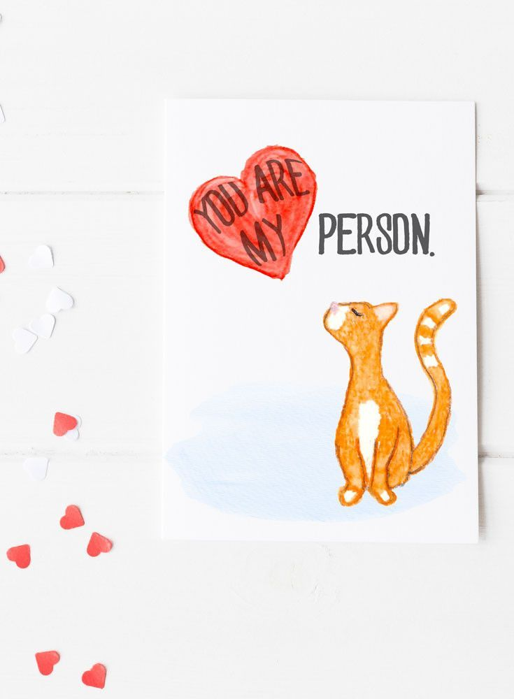 Valentine's Day Card - Cat You are My Person Card