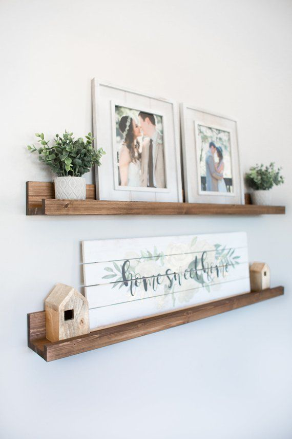 Photo of FREE SHIPPING   Rustic Wooden Picture Ledge Shelf, Ledge Shelf, Ledge Shelves, Rustic Floating Shelf, Wooden Shelf, Rustic Home Decor