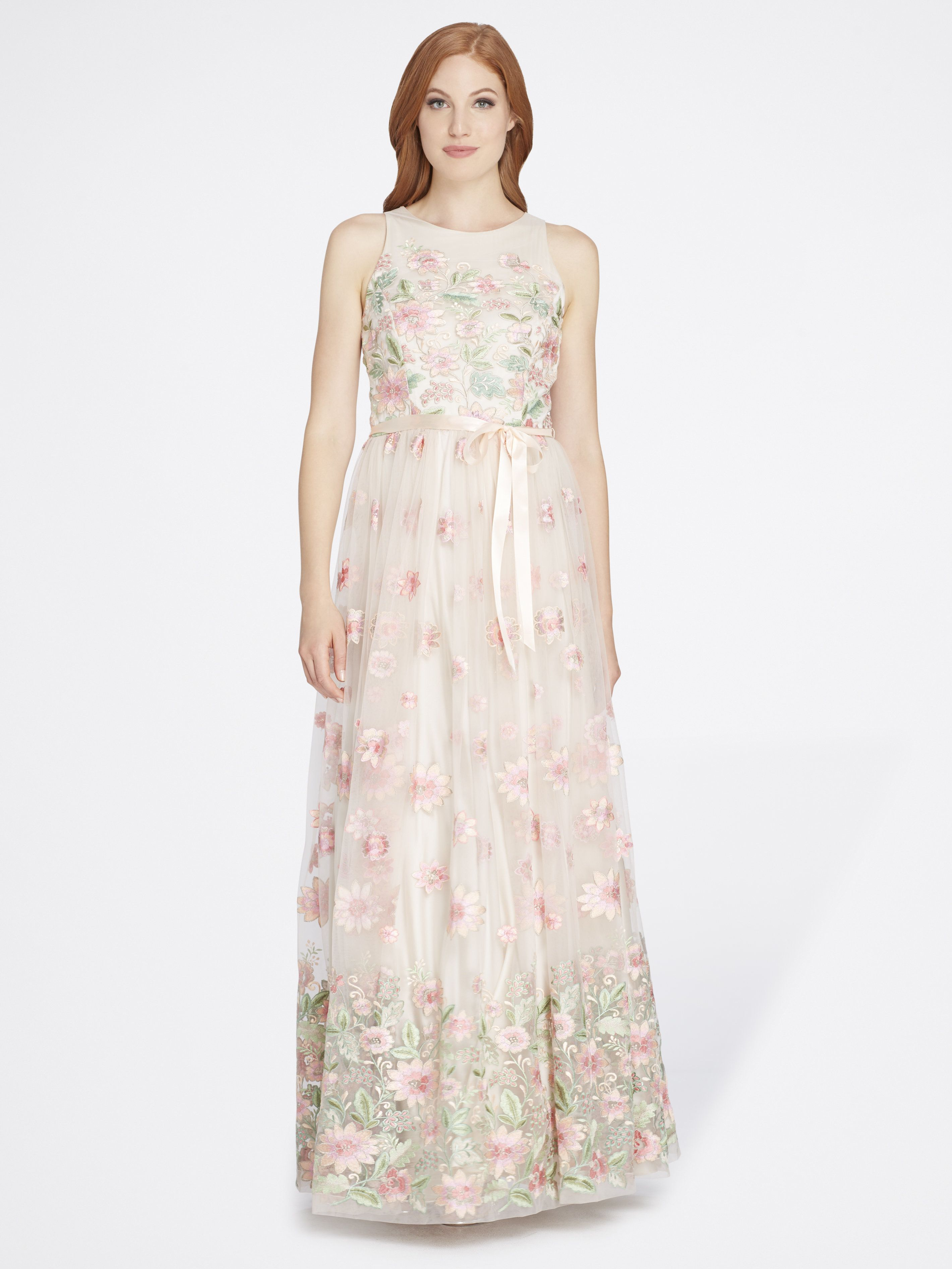 Embroidered Floral Fit-And-Flare Gown - Tahari ASL   Mother of the ...