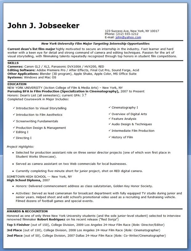 Resume After College Film Intern Resume Examples  Creative Resume Design Templates