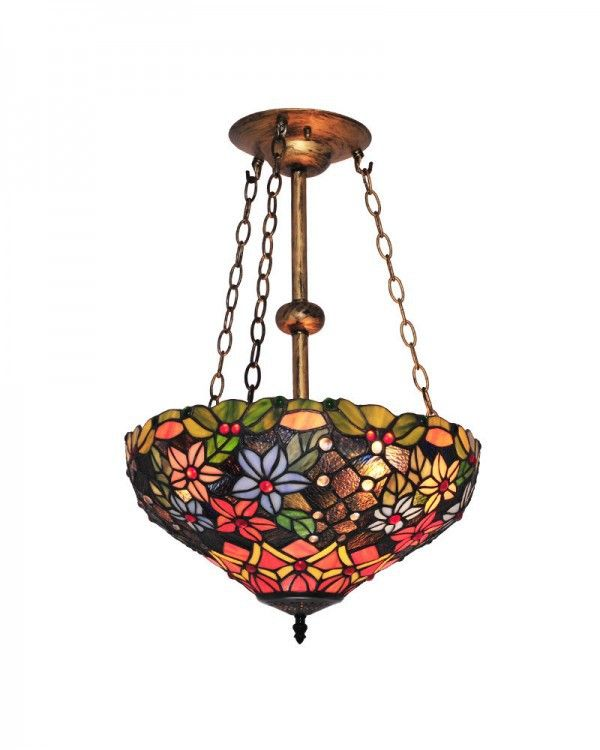 Flower And Leaves Pattern Stained Glass Shade Tiffany Style Chandelier Lighting For Dining Room