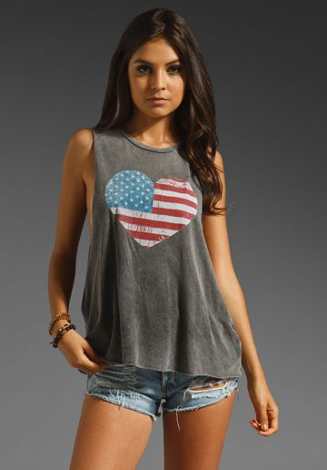 BRANDY MELVILLE American Heart Cut Off Tank in Washed Black at Revolve Clothing - Free Shipping!