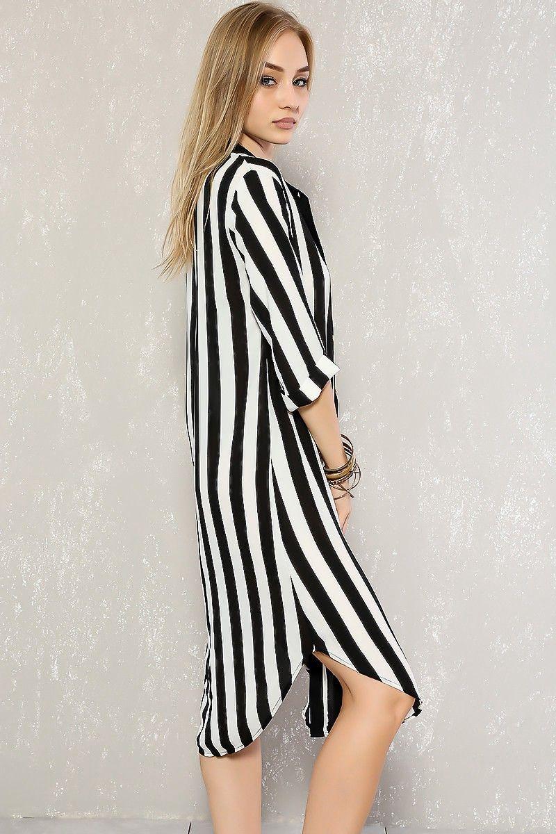 0e10ca748706a Sexy Black White Vertical Stripe Short Sleeves Midi Casual Dress in ...