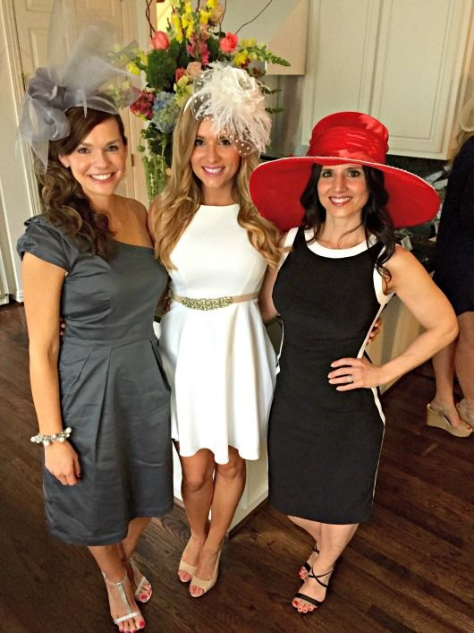 what to wear to an english tea bridal shower gray one shoulder dress and fascinator fancy