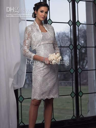 Silver Mother Of The Bride Dress Free Jacket Lace Knee-Length ...