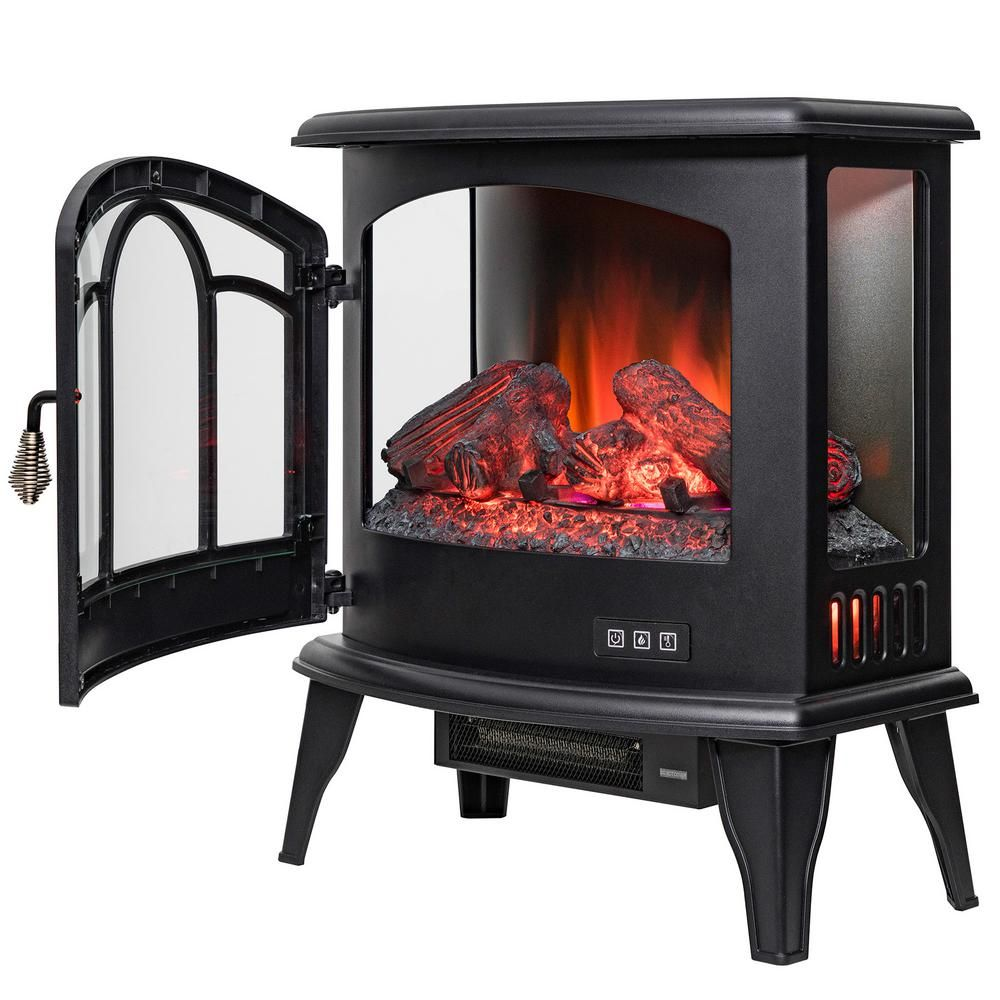 29 In Freestanding Electric Fireplace Insert Heater In Black With