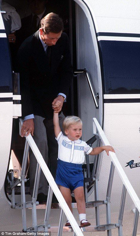 Prince William arriving at Aberdeen Airport in 1984 with his father Charles for a summer h...