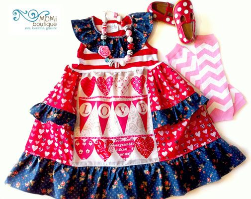 *America's Sweetheart* Valentine dress 4th of July MOMI boutique toddler girl