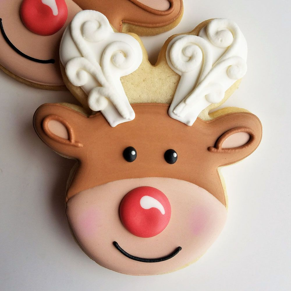Flour Box Bakery Reindeer Head Cookie Cutter Ann Clark Christmas Sugar Cookies Christmas Cookies Decorated Sugar Cookies Decorated