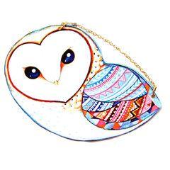 Barn Owl Bird Shaped Vinyl Animal Themed Cross Shoulder Bag