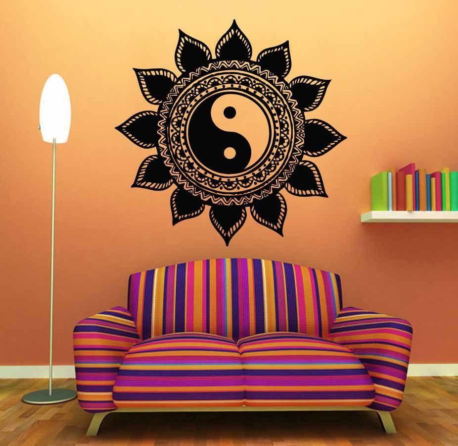 58cc162059 Yin Yang Floral Yoga Meditation Vinyl Decal Mural Wall Art ...
