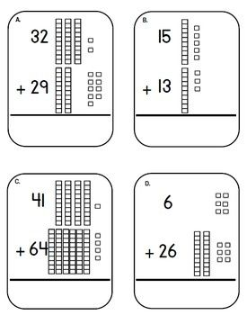 place value base ten block and cubes addition task cards adding tens center 2nd grade fun. Black Bedroom Furniture Sets. Home Design Ideas