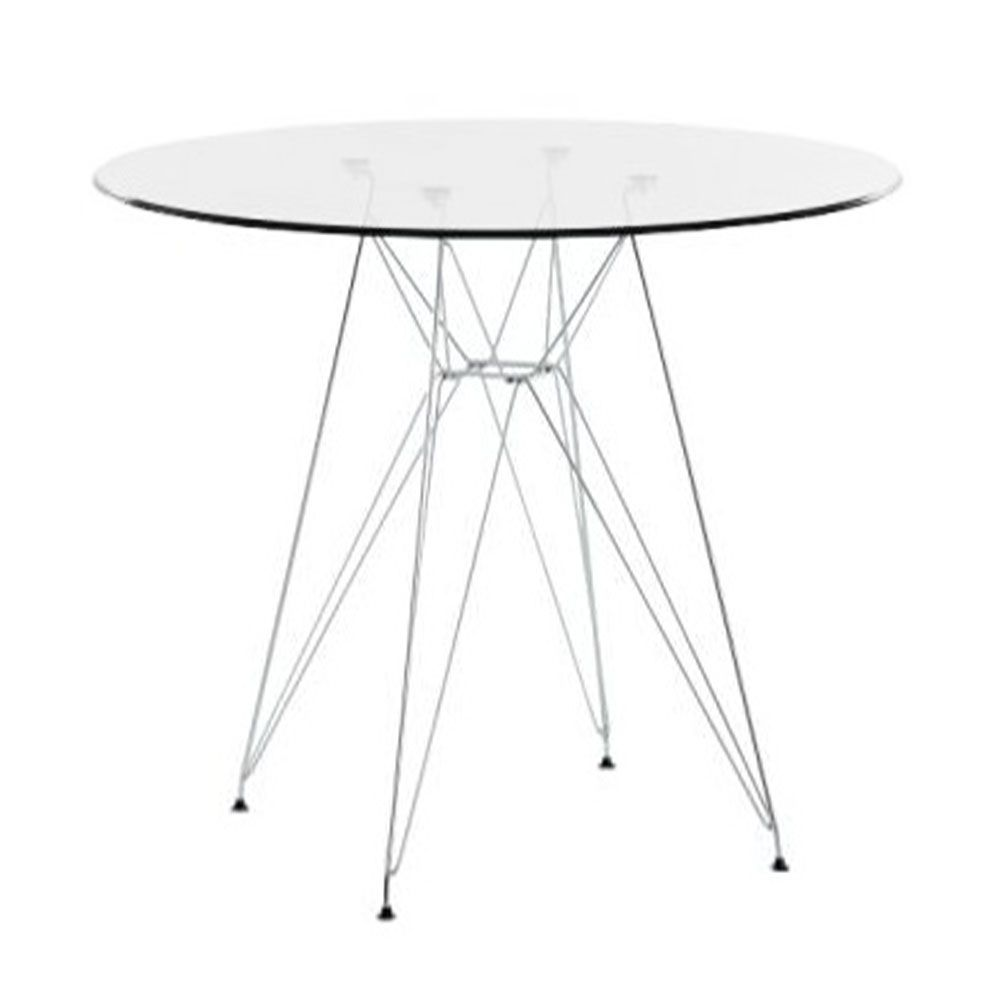 Charles Eames DSR Style Glass Dining Table With Chrome Legs   70cm Diameter    Charles Eames