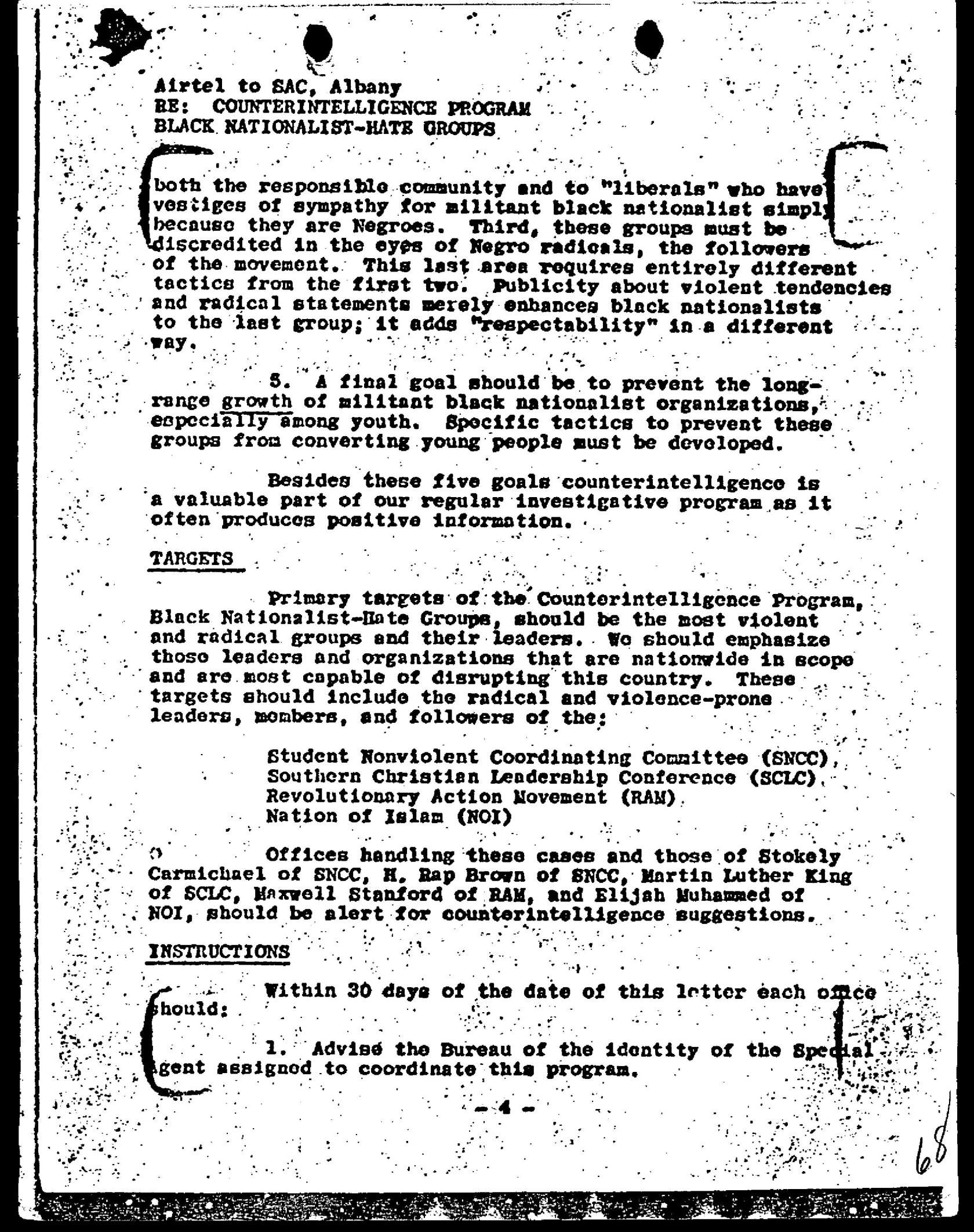 Page Four Of The Fbi Cointelpro Memo Dated March    Whctt
