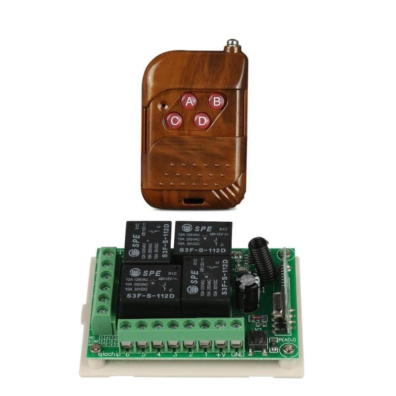Universal 433mhz Dc 12v 4ch Relay Rf Wireless Remote Control Switch Receiver Module Rf Remote 433mhz Transmitter L Remote Control Light Door Switch Transmitter