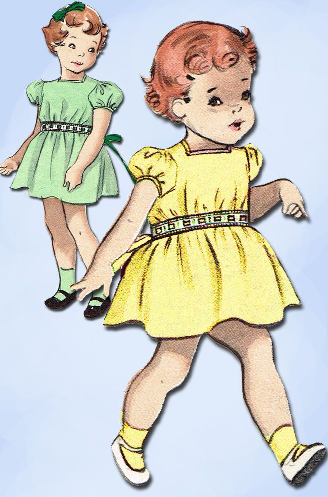 1950s Vintage Butterick Sewing Pattern 5568 Uncut Easy Baby Girls Dress Size 1…