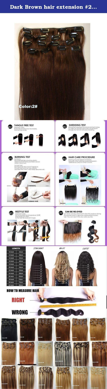 Dark brown hair extension pcsset g clip on hair full head