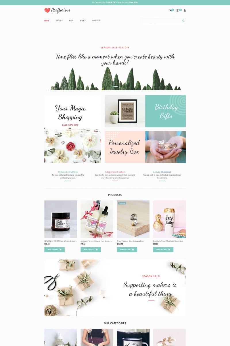 Craftorious Handmade Gift Shop Motocms Ecommerce Template 66569 With Images Ecommerce Template Magic Birthday Personalized Jewelry Box
