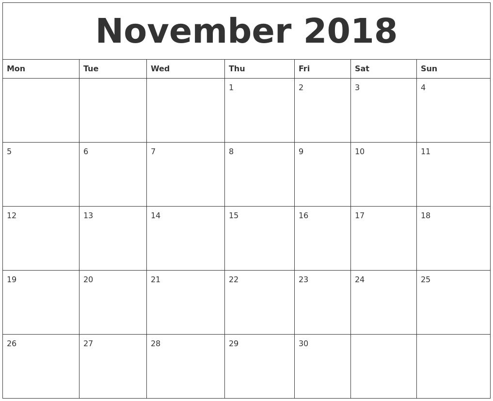 november 2018 calendar south africa