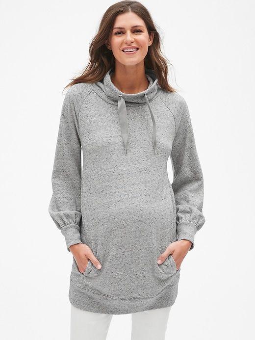 53556852366c4 Gap Womens Maternity Funnel-Neck Pullover Tunic Sweatshirt New Heather Grey