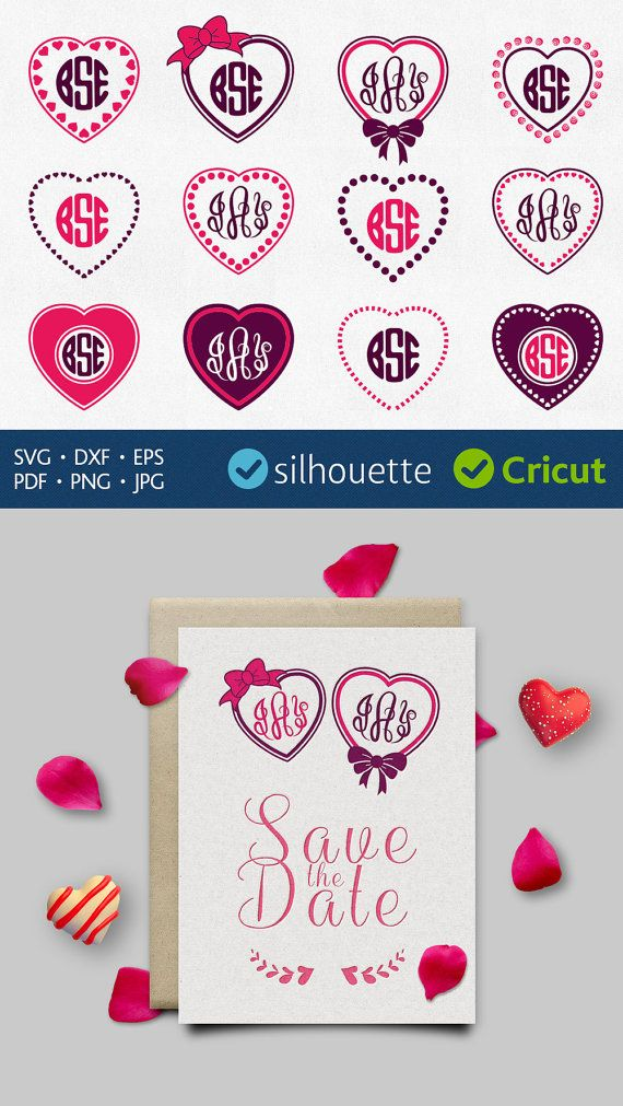 Heart Monogram Svg Dot Monogram Svg Download Heart Frame Border Svg