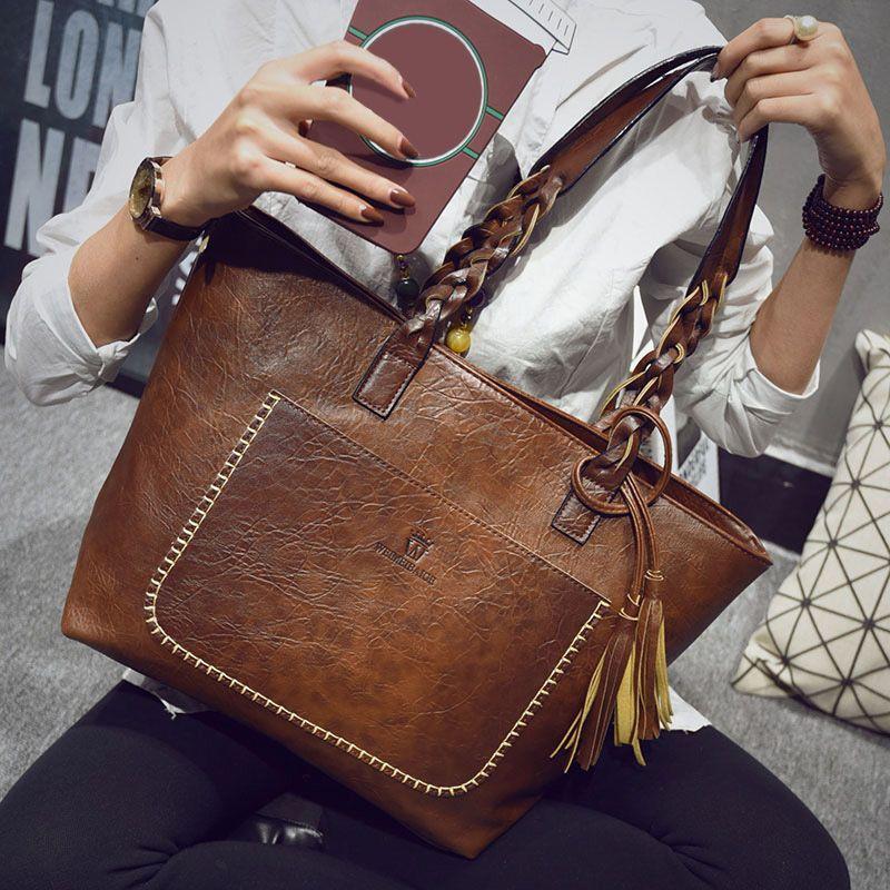 Vrouwen Lederen Handtassen Bolsos Mujer De Marca Famosa Vrouwelijke Vintage Tas Voor Vrouwen Schoudertas Retro Grote Capaciteit Tassen