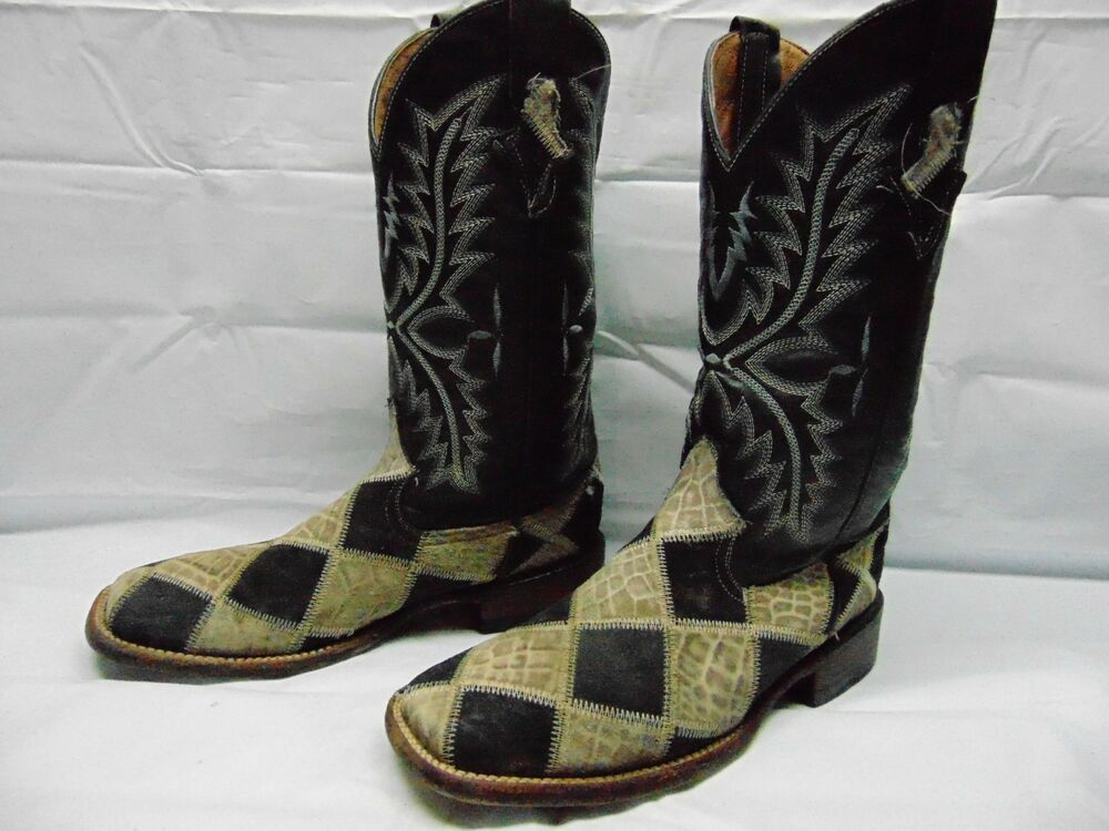 db2f5ef9927 Ferrini Men's 8 D Ostrich Patchwork Exotic Western Boots Wide Square ...