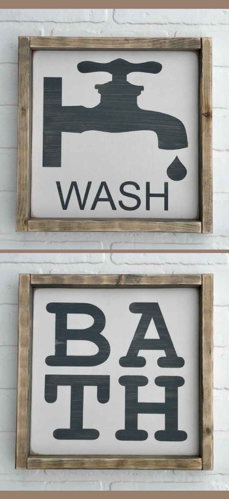 Wash Faucet And Bath Sign 12 Quot X 12 Quot Framed Wood Sign