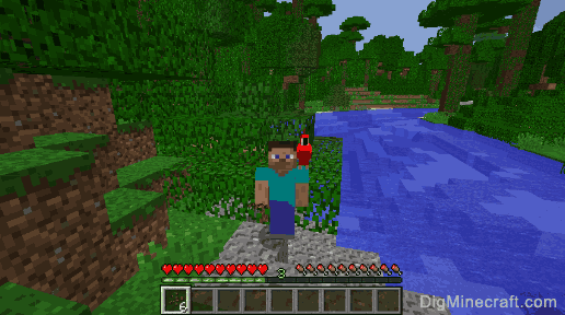Tame a parrot in Minecraft and have it sit on your shoulder