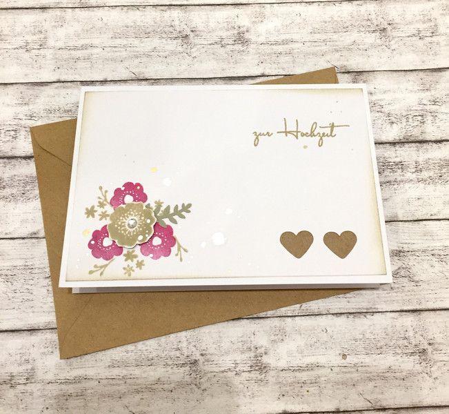 Hochzeitskarten Hochzeitskarte Blumen Herzen Ein Designerstuck