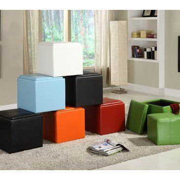 Homelegance Ladd Storage Cube Ottoman in Bi-Cast Vinyl Red by ...