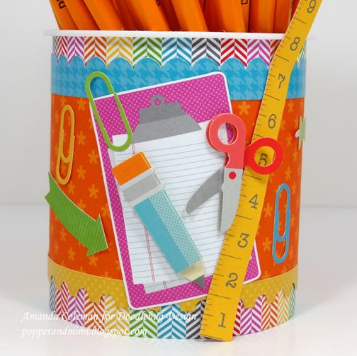 Frosting Container Pencil Jar By Amanda Coleman Using Doodlebug S Take Note Collection Patterned Paper Crafts Arts And Crafts