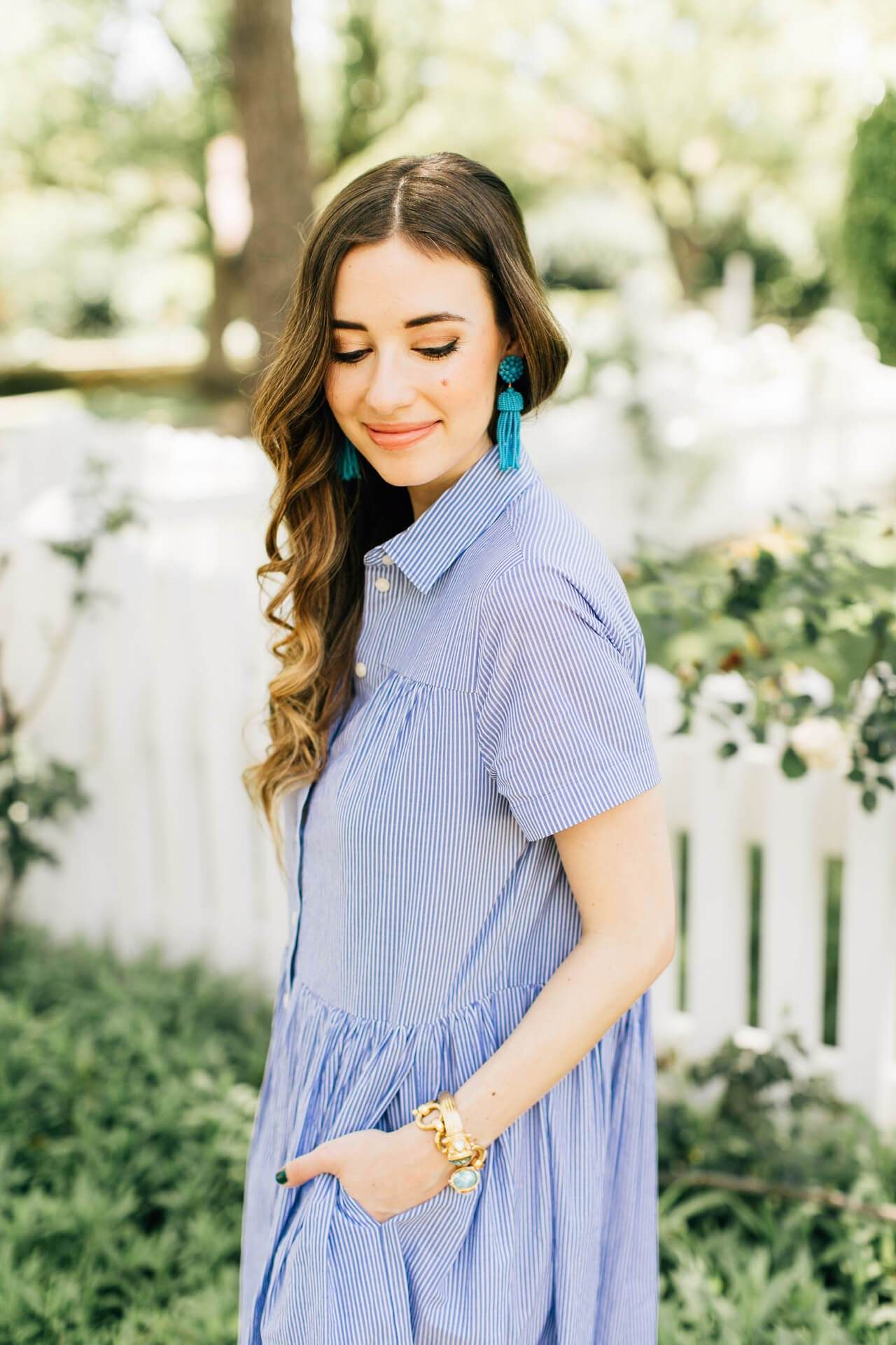 feminine blue and white outfit on M Loves M @marmar