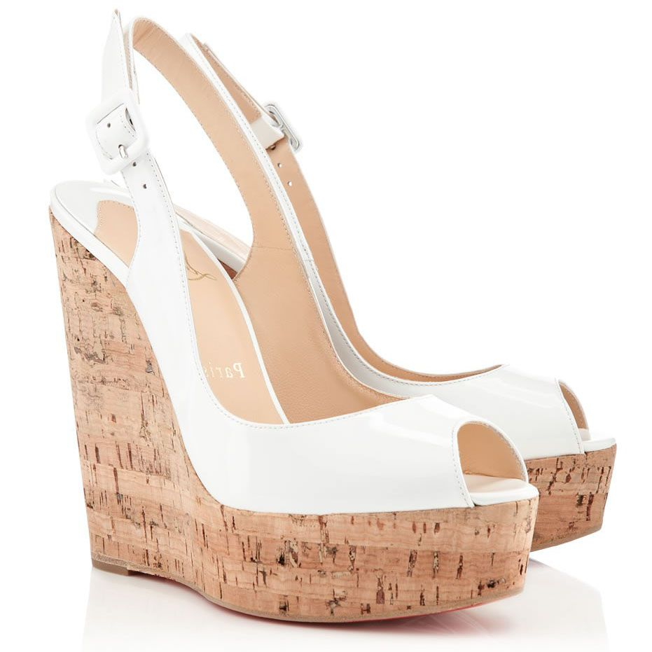 c0f255c92597 Christian Louboutin Une Plume Sling 140mm Patent Leather Slingback Cork  Wedges White