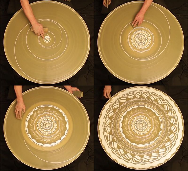 A Spinning Mosaic Of Patterns Drawn With Wet Clay On A Potter S Wheel Clay Ceramics Pottery Ceramics