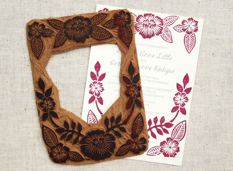 lauren arman s floral block printed wedding invitations print