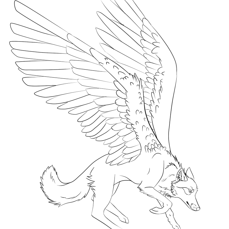 Photo of Winged Wolf Lineart by trevu on DeviantArt