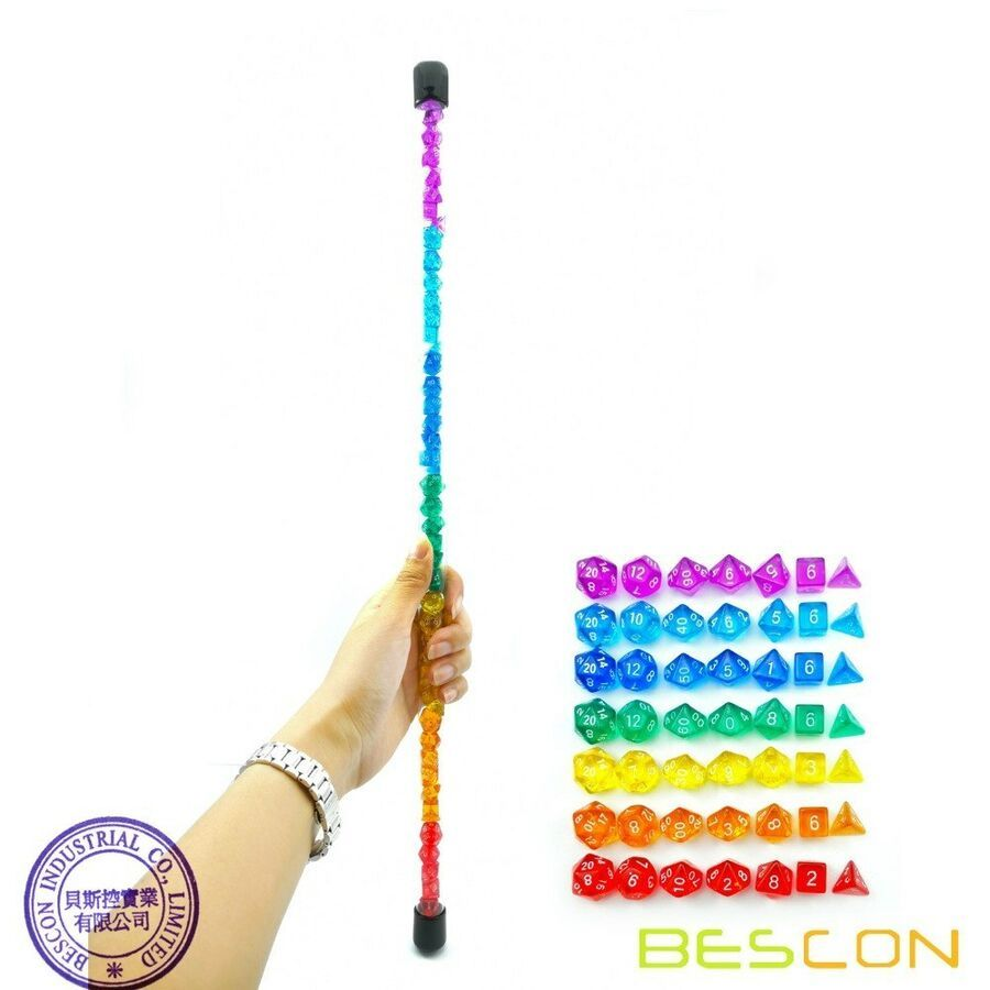Bescon 49pcs Rainbow Mini Gem Polyhedral Dice Set in Long Tube RPG Dice 7X7pcs