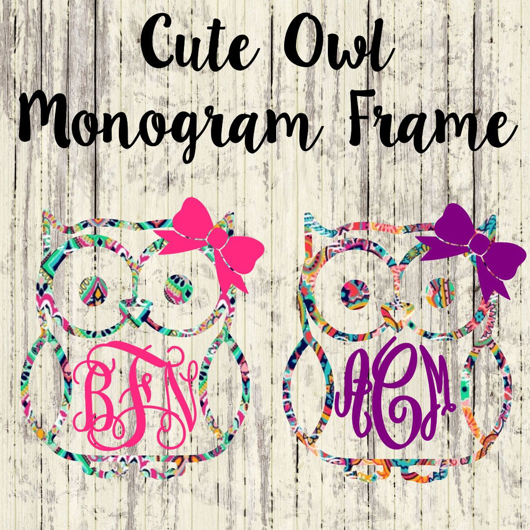 Cute Owl Monogram Car Decal Vinyl Decal Yeti Cup Monogram - Custom car decals near me   how to personalize