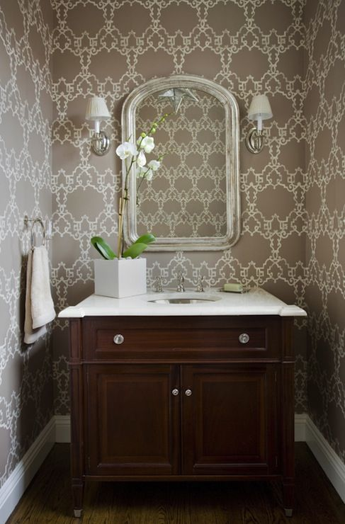 Kate coughlin interiors chic powder room with silver for Vanities for powder rooms