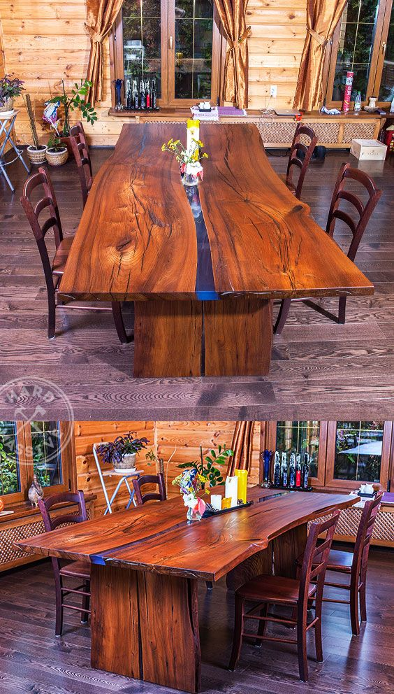Wooden Dining Table Solid Wood Live Edge Epoxy Epoxy