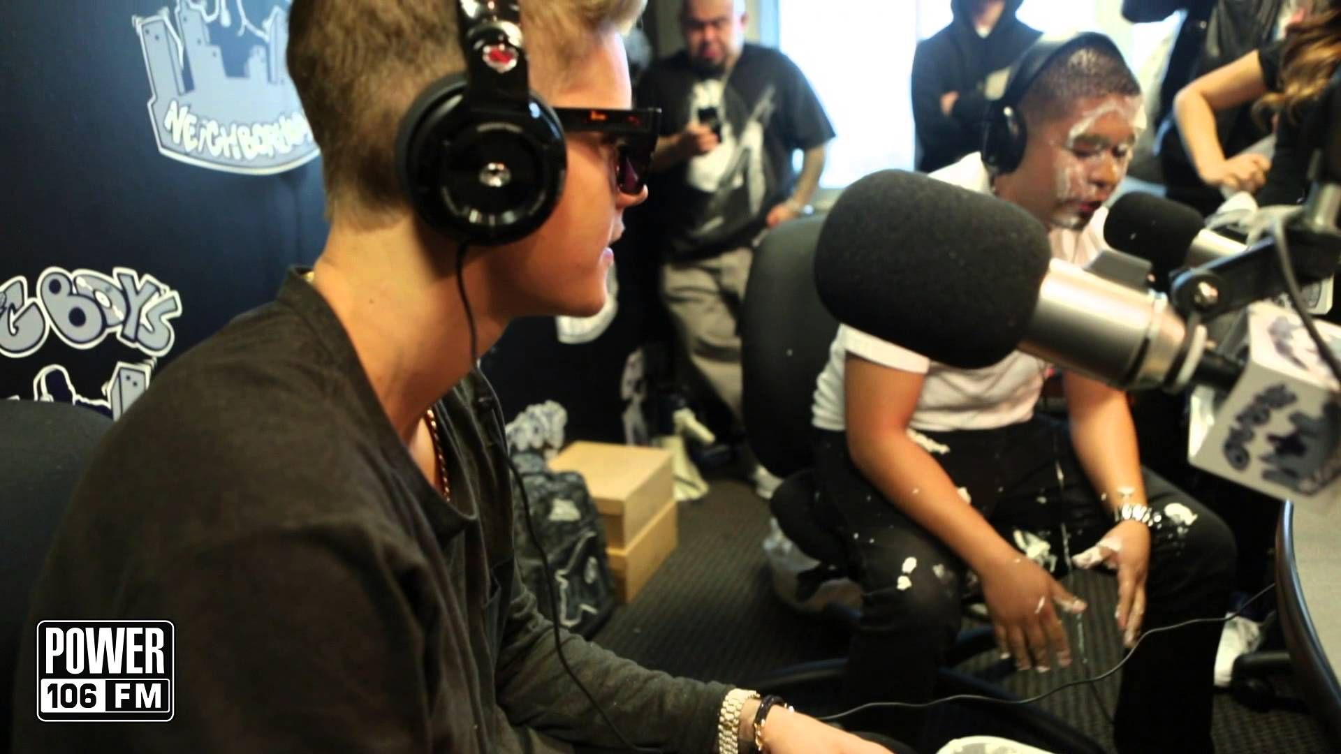 Justin Bieber hits Louie G with a pie and stun gun,funny!
