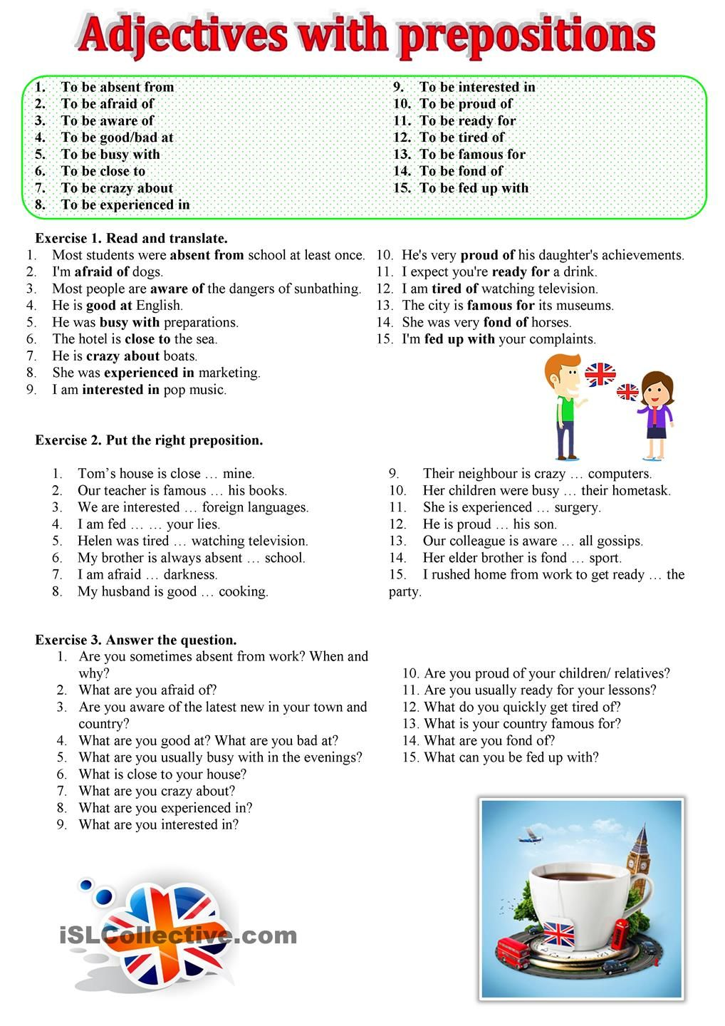 Adjectives with prepositions   ESL worksheets of the day ...