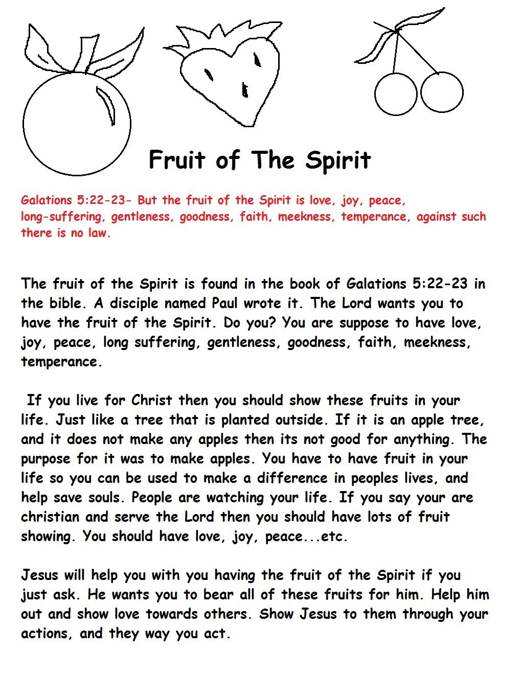 fruit of the spirit for kids fruit of the spirit sunday
