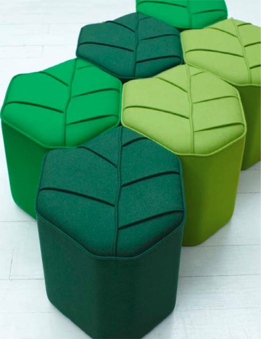 The Leaf Seat, by design by nico, is a beautiful wool-covered foot stools in the shape of a leaf. Each one can be used as a stand alone object or grouped together to create an eye-catching display of leaves.
