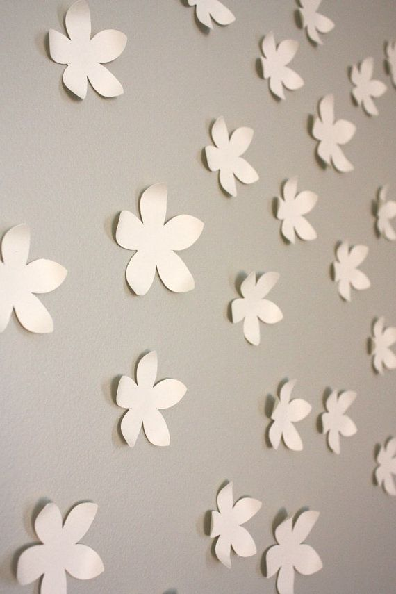 Wall Flowers Decor 3d paper flower wall decor. set of 30. cream (can be made in