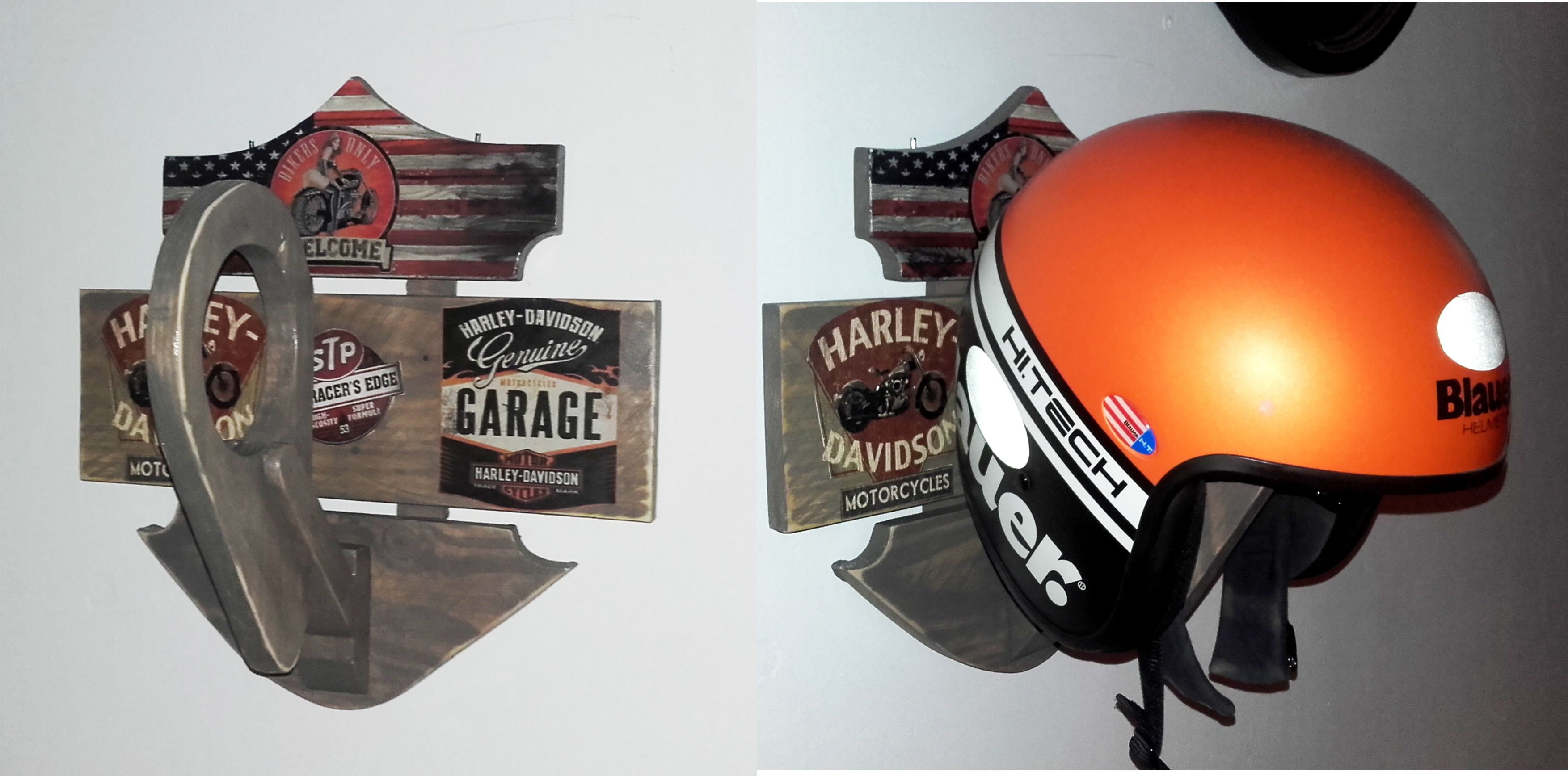 diy support de casque support de casque moto support mural pour casque harley davidson. Black Bedroom Furniture Sets. Home Design Ideas